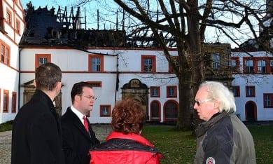 Besichtigung der Brandschäden am Schloss Ehrenstein