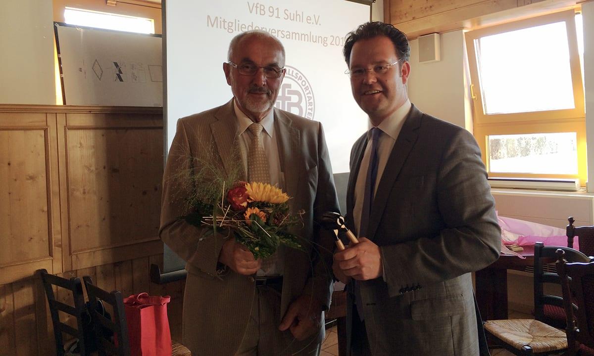 Mit dem neuen Präsident des VfB 91 Suhl, Roland Weidner